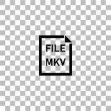 MKV File icon flat. MKV File. Black flat icon on a transparent background. Pictogram for your project royalty free illustration
