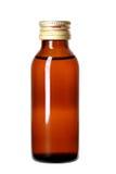 100ml το κενό γυαλί ψαλιδίσματος μπουκαλιών καφετί ακίνδυνο για τα παιδιά συμπεριλαμβανόμενο απομόνωσε το λευκό μονοπατιών ιατρικ Στοκ Εικόνα