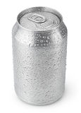 330 ml aluminium kunnen met waterdalingen Stock Afbeeldingen