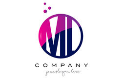 Ml M L Circle Letter Logo Design avec Dots Bubbles pourpre Image libre de droits