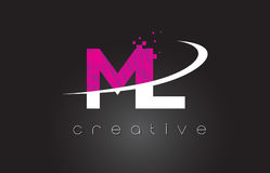 ML M L Creative Letters Design With White Pink Colors Stock Photo