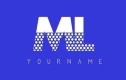 Ml M L Dotted Letter Logo Design con el fondo azul Fotografía de archivo
