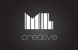 Ml M L Letter Logo Design With White et lignes noires Photo libre de droits