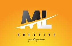 Ml M L Letter Modern Logo Design avec le fond jaune et le Swoo illustration stock