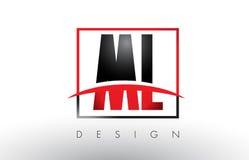 Ml M L Logo Letters con colores rojos y negros y Swoosh Foto de archivo libre de regalías