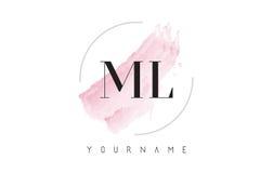 Ml M L Watercolor Letter Logo Design con el modelo circular del cepillo Fotos de archivo libres de regalías