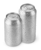 500 ml and 330 ml aluminum beer cans with water drops Royalty Free Stock Photo