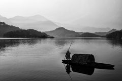Måla stil av det kinesiska landskapet Royaltyfri Fotografi