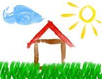 Måla teckningen av huset och solen - som göras av barnet Arkivbilder
