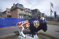 Målad bison, gemenskapkonstprojekt, vinterOS:er, statlig capitol, Salt Lake City, UT Fotografering för Bildbyråer