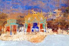 Målad vägg Royal Palace Pnom Penh, Cambodja Royaltyfri Bild
