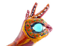 målade händer Lyckligt idérikt, roligt och konstnärligt hjälpmedel! Isolat Royaltyfri Foto