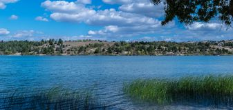 Mladost Lakeside. Idyllic lakeside view, empowered by the perfect weather, scattered clouds and bright sun Royalty Free Stock Image