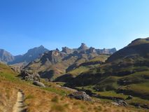 Mlambonja River Valley, parco nazionale di Drakensberg di uKhahlamba fotografia stock libera da diritti