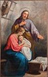 Målarfärgen av den heliga familjen från kyrklig Santa Maria Immacolata delle Grazie Arkivbild