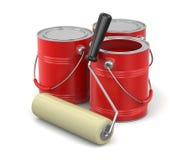 Målarfärgrulle och cans av målarfärg Royaltyfri Foto