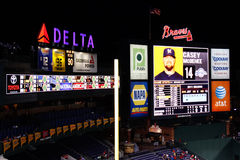 MLB Atlanta Braves - Turner Field Scoreboard. A view of the scoreboard at Turner Field, home of the Major League Baseball Atlanta Braves, at night Royalty Free Stock Images