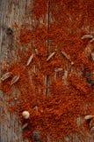 Mleje paprica kolorowego tło, zakończenie, płytka głębia pole Obraz Stock