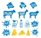 Mleka i sera etykietki ikony i projektów elementy, ilustracji