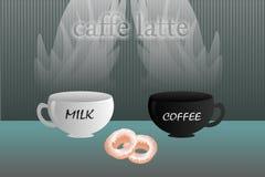Mleko, kawa, latte + = Zdjęcie Royalty Free