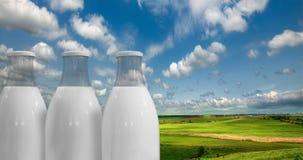 Mleko w butelkach przeciw tłu Obraz Stock
