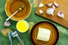 Mleko z masłem, czosnkiem i miodem, Fotografia Stock