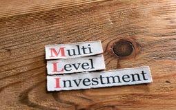 MLI-, mehrstufige Investition Stockfoto