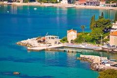 Mlini und Srebreno nahe Dubrovnik-Küstenlinienansicht stockfoto