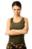 Mlitary woman with folded arms Royalty Free Stock Image