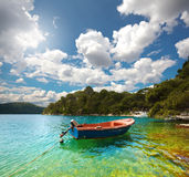 Mljet. Croatia. Lonely boat in the bay in Mljet. Croatia Stock Photos