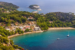 Mljet, Saplunara. Aerial helicopter photo of sandy beach on island Mljet, near Dubrovnik, Croatia royalty free stock photo