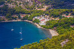 Mljet, Saplunara. Aerial helicopter photo of sandy beach on island Mljet, near Dubrovnik, Croatia stock image