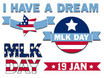 Mlk day. Set of icons for the Martin Luther King Day Stock Photography