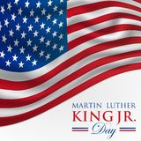 MLK Martin Luther King Jr. Day Vector Illustration Background with American Flag. In Red and Blue stock illustration