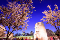 MLK Memorial in DC. WASHINGTON - APRIL 12, 2015: The memorial to the civil rights leader Martin Luther King, Jr. towers over crowds during the spring season in Stock Photography