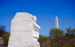 MLK och Washington Memorial Arkivbild