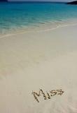 Mlle de Word sur la plage Photographie stock libre de droits