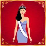 Mlle Universe et fond rouge, conception de vecteur Images stock