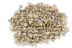 MLM keywords embedded on a close-up of golden split stones royalty free stock photography