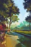 Målning av den härliga trädgården, parkerar i staden Arkivbild