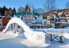 Mlyn de Spindleruv de station de sports d'hiver, montagnes (géantes) de Krkonose, République Tchèque Photos libres de droits