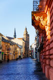 Mlynska street, Kosice, Slovakia. St Elisabeth cathedral tower and Mlynska street in Kosice, Slovakia Royalty Free Stock Images