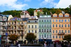 Mlynske street of Karlsbad (Karlovy Vary). Czech republic Royalty Free Stock Images