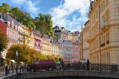 Mlynske ulica Karlsbad (Karlovy Zmienia) Fotografia Royalty Free