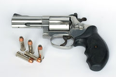 .38 mm。在白色背景的枪孤立 库存照片