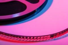 与影片-文本的空间的影片轴 免版税库存照片