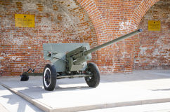 57 mm划分枪1942年在二战的时期的军用设备的陈列的显示在克里姆林宫 图库摄影