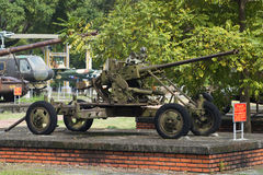 37 mm双管的高射炮在颜色城市,越南 免版税库存图片