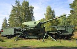 180 mm在堡垒Krasnaya戈尔卡的火炮登上TM-1-180 免版税图库摄影