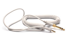 3,5mm对6,3mm Strereo TRS男性音频缆绳的立体音响男性 免版税库存照片
